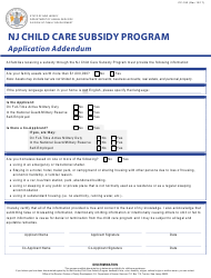 "Form CC-192 ""Nj Child Care Subsidy Program Application Addendum"" - New Jersey"