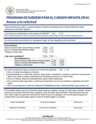 """Formulario CC-192 """"Programa De Subsidio Para El Cuidado Infantil De Nj Anexo a La Solicitud"""" - New Jersey (Spanish)"""