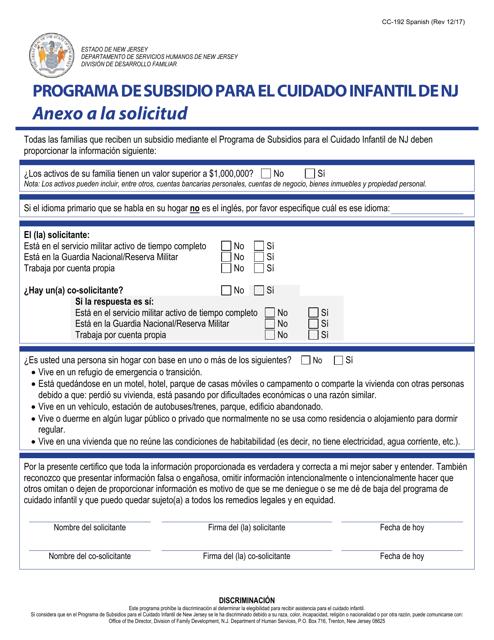 Formulario CC-192  Printable Pdf