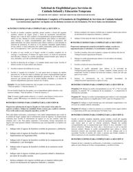 """Formulario DHS/CC:1 """"Solicitud De Elegibilidad Para Servicios De Cuidado Infantil Y Educacion Temprana"""" - New Jersey (Spanish)"""