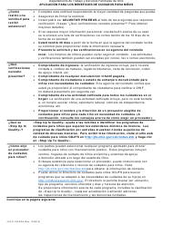 """Formulario JFS01138-SPA """"Applicacion Para Los Beneficios De Cuidados Para Ninos"""" - Ohio (Spanish)"""