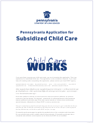 "Form CY868 ""Pennsylvania Application for Subsidized Child Care"" - Pennsylvania"