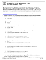 """Form HS-3408 """"Application for Child Care Payment Assistance/Smart Steps"""" - Tennessee"""