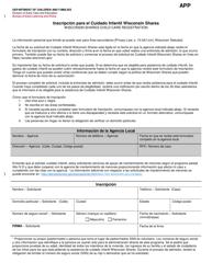 """Formulario DCF-F-2835-S """"Inscripcion Para El Cuidado Infantil Wisconsin Shares"""" - Wisconsin (Spanish)"""