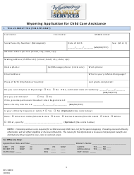 "Form DFS100CC ""Wyoming Application for Child Care Assistance"" - Wyoming"