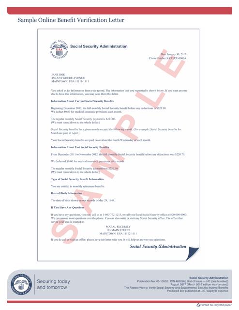 "Sample ""Social Security Verification Letter"" Download Pdf"