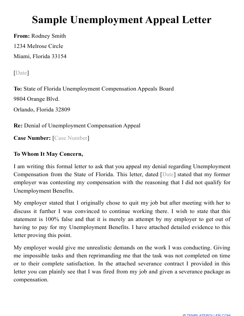 "Sample ""Unemployment Appeal Letter"" Download Pdf"
