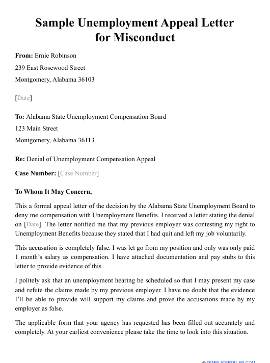 """Sample """"Unemployment Appeal Letter for Misconduct"""" Download Pdf"""