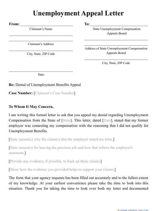 Unemployment Appeal Letter For Misconduct from data.templateroller.com