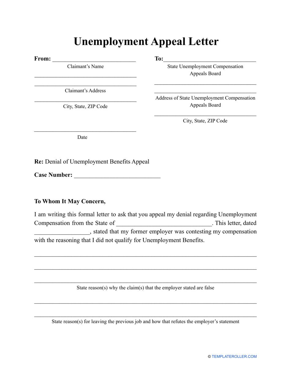 Unemployment Appeal Letter Template