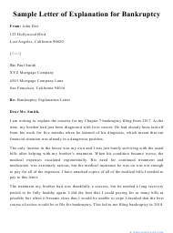 "Sample ""Letter of Explanation for Bankruptcy"""