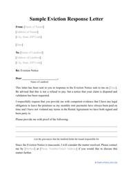 "Sample ""Eviction Response Letter"""