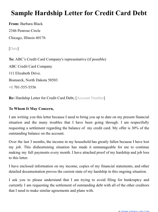 Hardship Letter For Credit Cards from data.templateroller.com