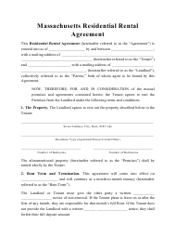 """""""Residential Rental Agreement Template"""" - Massachusetts"""