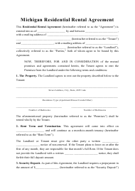 """Residential Rental Agreement Template"" - Michigan"