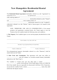 """Residential Rental Agreement Template"" - New Hampshire"