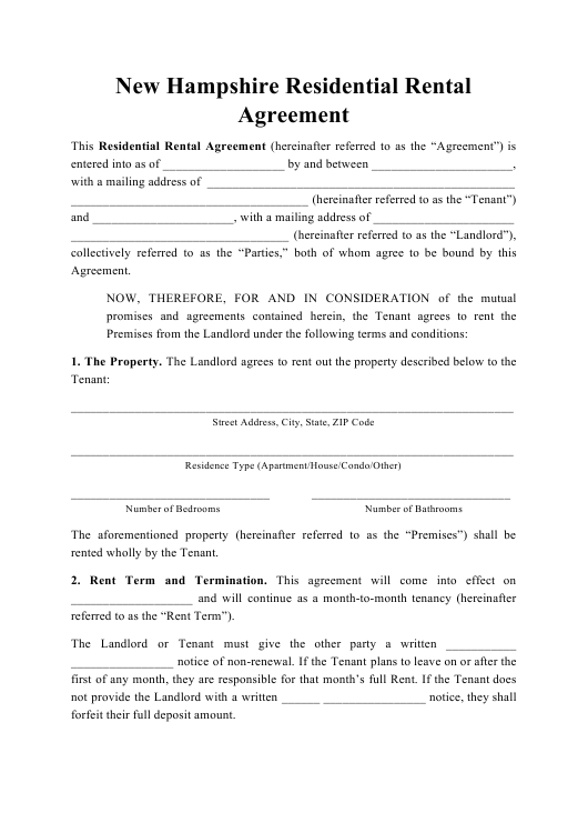 """Residential Rental Agreement Template"" - New Hampshire Download Pdf"
