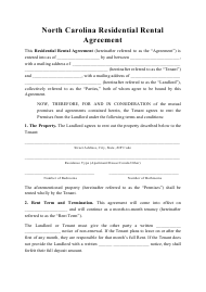 """Residential Rental Agreement Template"" - North Carolina"