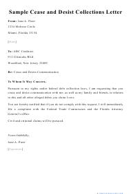 "Sample ""Cease and Desist Collections Letter"""