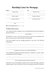"""Hardship Letter for Mortgage Template"""