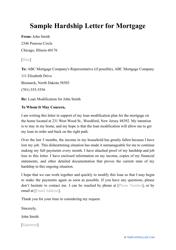 """Sample """"Hardship Letter for Mortgage"""""""