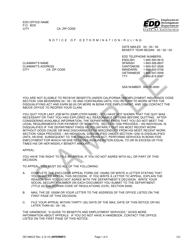 "Sample Form DE1080CZ ""Notice of Determination/Ruling"" - California"