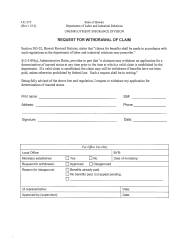"Form UC-275 ""Request for Withdrawal of Claim"" - Hawaii"
