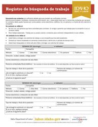 """Formulario I-77-21S """"Registro De Busqueda De Trabajo"""" - Idaho (Spanish)"""