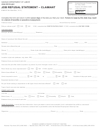 "Form K-BEN3118-A ""Job Refusal Statement - Claimant"" - Kansas"