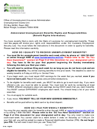 "Form CI-9A ""Abbreviated Unemployment Benefits Rights and Responsibilities (Benefit Rights Information)"" - Louisiana"