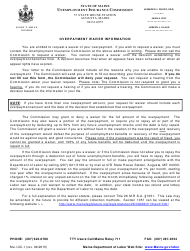 """Form UIC-1 """"Overpayment Waiver Information"""" - Maine"""
