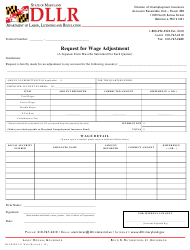 """Form DLLR/DUI21 """"Request for Wage Adjustment"""" - Maryland"""