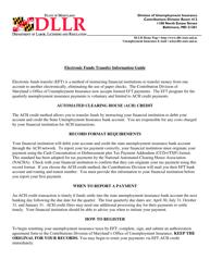 """Electronic Funds Transfer Authorization Agreement"" - Maryland"