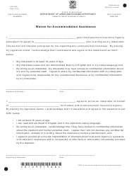 """Form UIA1299 """"Waiver for Accommodation Assistance"""" - Michigan"""