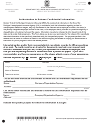 """Form UIA6102 """"Authorization to Release Confidential Information"""" - Michigan"""