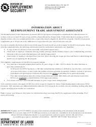 "Form MODES-4640-R ""Request for Reemployment Trade Adjustment Assistance Claim"" - Missouri"