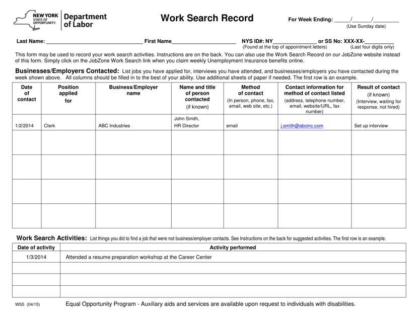 Form WS5  Printable Pdf