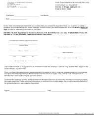 "DWS-UI Form 669 ""Notice of Wage Assignment Due to Grievance"" - Utah"