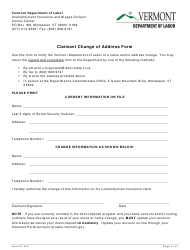 "Form B-2 ""Claimant Change of Address Form"" - Vermont"