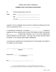 "Form VEC-CW-31 ""Combined Wage Claim Cancellation Request"" - Virginia"
