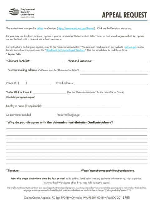 """Appeal Request"" - Washington Download Pdf"
