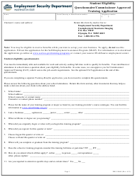 "Form EMS10065 ""Student Eligibility Questionnaire/Commissioner Approved Training Application"" - Washington"