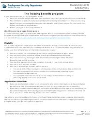 "Form EMS10425 ""Training Benefits Application"" - Washington"