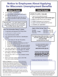 """Form UCB-7-P """"Notice to Employees About Applying for Wisconsin Unemployment Benefits"""" - Wisconsin"""