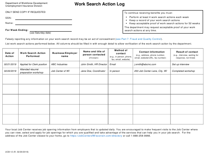 Form UCB-12  Printable Pdf