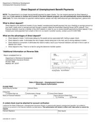 "Form UCB-9400 ""Direct Deposit Authorization"" - Wisconsin"
