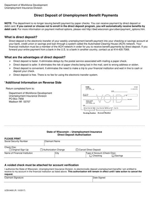 Form UCB-9400  Printable Pdf