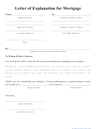 """""""Letter of Explanation for Mortgage Template"""""""