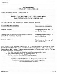 "Form DHS1240 ""Application for Financial and Snap Assistance"" - Hawaii"