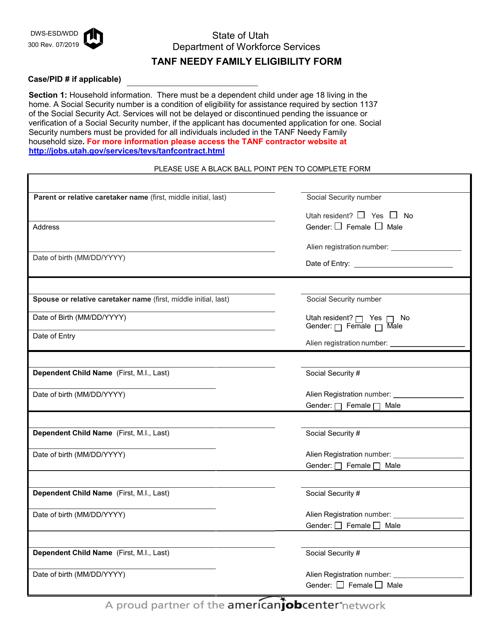 Form DWS-ESD/WDD 300  Printable Pdf